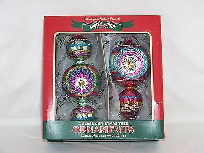 "2 - Shiny Brite Christmas Holiday 6"" Tall Glass Ornaments - New In Box"