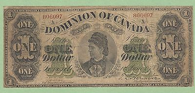 1878 Dominion of Canada 1 Dollar Note - Lettered Border - Payable at Toronto