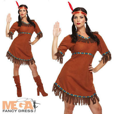 Red Indian Girl Ladies Fancy Dress Western Womens Adult Costume Outfit 10 12 14