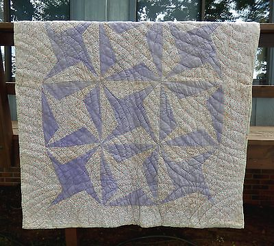 c.1930's WHEEL of DESTINY PATTERN QUILT -FEEDSACK FABRIC -HAND PIECED & QUILTED