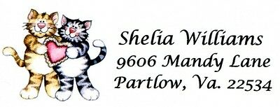 2 striped Cats with Valentine's Day Heart Address Labels