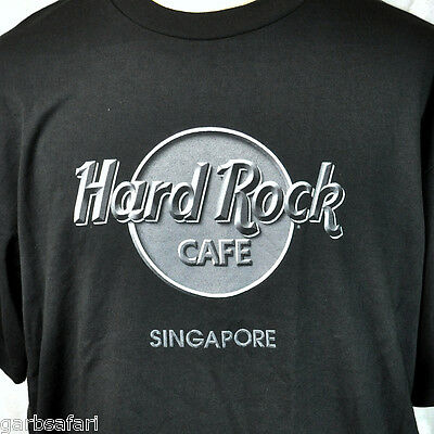 Hard Rock Cafe Singapore HRC Logo Mens Black T-Shirt XL New Big Asia Mainland