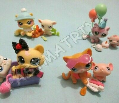 Littlest Pet Shop Lot 7 Random Pcs 1 Cat 1 Mouse and 5 Accessories Gift Bag Lps