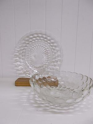 KW-39 2 PC Vintage Anchor Hocking Bubble-Clear Dinner Plate Shallow Round Bowl