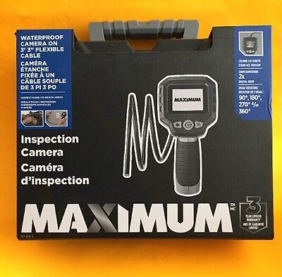 "MAXIMUM Inspection Camera Waterproof, LCD Display, Case, 3' 3"" Cable 2x Zoom NIB"