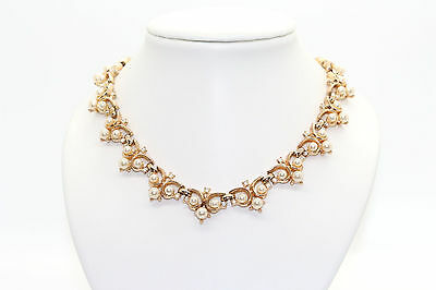 Vintage Signed TRIFARI Gold tone Faux Pearls and Rhinestones Choker/Necklace