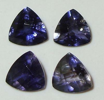 4ct Lot 4pc Zambian Blue Purple Iolite Checkerboard Trillion Cut 7mm SPECIAL