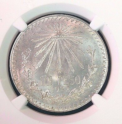 """1932-M MEXICO 1 PESO """"OPEN 9"""" NGC **MS-66** near top of pop"""