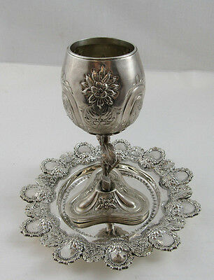 """Viznitz Kiddush Set Cup with Plate - Sterling Silver 925 452g Height 7"""""""