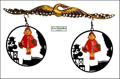 Exquisite French Les Nereides Paris N2 Little Riding Hood Earrings /pierced Ears
