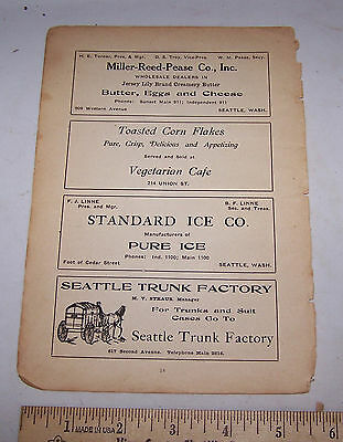 1906 SEATTLE WASHINGTON Ad - Miller Reed Pease Trunk Factory Ice Vegetarian Cafe