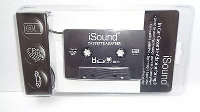 iSound In Car Cassette Adapter for mp3,plugs into 3.5mm audio output,NEW IN PACK