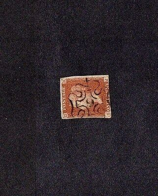 1841.1d RED-BROWN IMPERF.No.9 IN MALTESE CROSS CANCEL.HORIZONTAL CENTRAL CREASE.