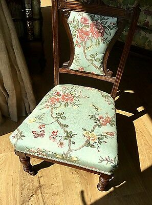 "Childs Chair. Charming, Newly Upholstered. 30"" high 17"" wide"