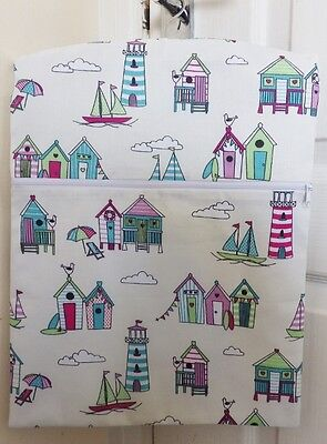"Hand Made Peg/Hanging Storage Bag Lined/Zipped 12.5"" x 16"" CANDY BEACH HUTS"