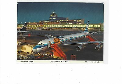 KLM Airlines DC-8 cargo jet at Montreal airport cont/l  postcard