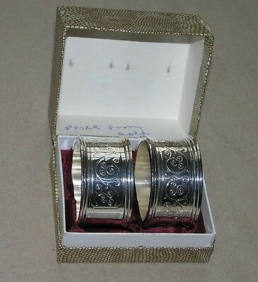 Pair Vintage Silver Plated Engraved Napkin Rings Boxed