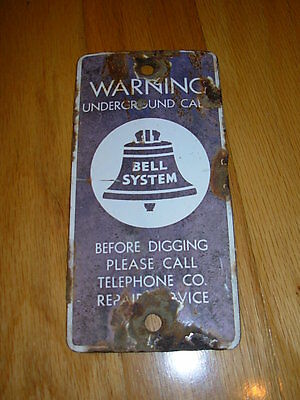 "Vintage Old Porcelain Enamel Bell System Underground Telephone Cable 7"" X 3.5"""