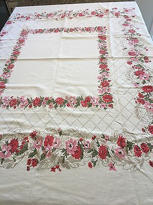 Vintage Orangey Red and Pink Floral Cotton Rectangular Tablecloth - 52x42