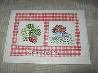 Handmade Completed Cross Stitch Card - Strawberries and Cream - Happy Birthday