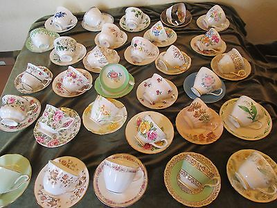 Job Lot 5 Mismatch Vintage Cups And Saucers For  Tea Parties/weddings/tearoom