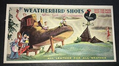 Weatherbird Shoes Incredible Blotter Nursery Rhyme Old Lady Lived In Shoe Vintag