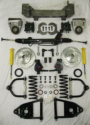 """1949 - 1954 Chevy Car Mustang II Power Front End Suspension Kit 2"""" Drop Slotted"""