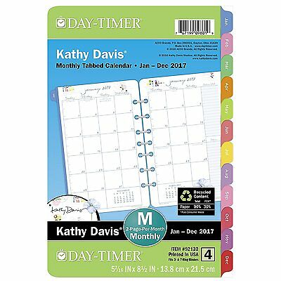 "Day-Timer Planner Refill 2017, 2 Page Per Month, 5-1/2 x 8-1/2"", Unruled, Desk"