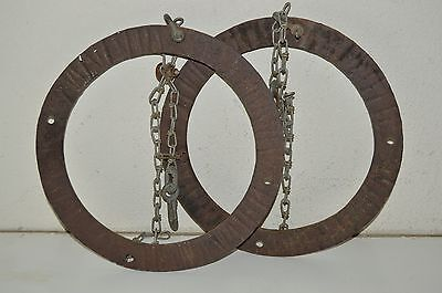 Vintage Cast Iron Hand Forged Blacksmith Farm Tool Hanging Rings Chain Rare