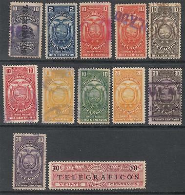Ecuador Telegraph Stamps 1922//38 12 diff used stamps Barefoot cv $52