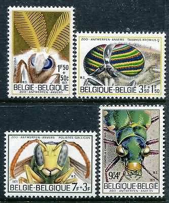 Belgium B879-B882, MNH, Insects 1971. Ox Fly, Luna moth, Wasp, Tiger bee, x23968