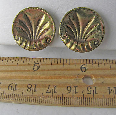 Vintage Antique 1883 Paris Victorian Pressed Brass Shell Button Clip-On Earrings