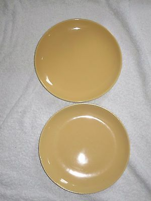 Poole Pottery TwinTone SWEETCORN YELLOW  2 x 8  INCH SALAD  PLATES VINTAGE