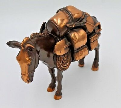 CAST IRON COPPER COLORED MINER'S MULE DONKEY HORSE w SADDLE FULL OF GEAR