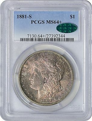 1881-S Morgan Dollar MS64+ PCGS CAC Purple with Blue Rim Toning on Obverse