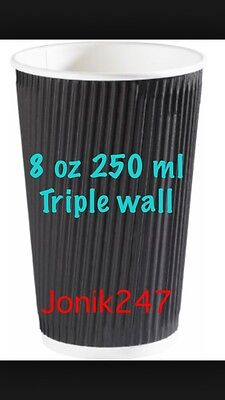500 Triple Ripple wall paper coffee cups , disposable coffee cups 8 OZ Black