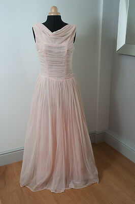 1950s vintage pink gown or wedding dressing tulle fabric size m with neck train
