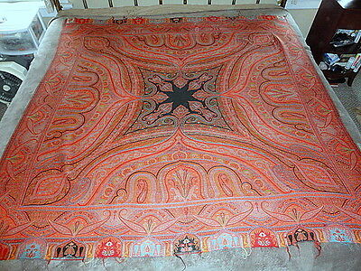 Ornate Antique Paisley Fringed Shawl Bright Colors #2