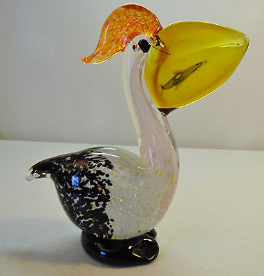 Blown Glass Pelican with Fish in Mouth Figure Multi Color