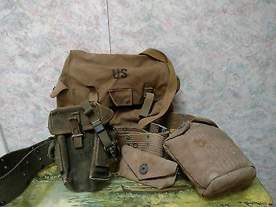 Vintage WWII Era + US Army Belts, First Aid Pouch & Metal Canteen & Cover & More