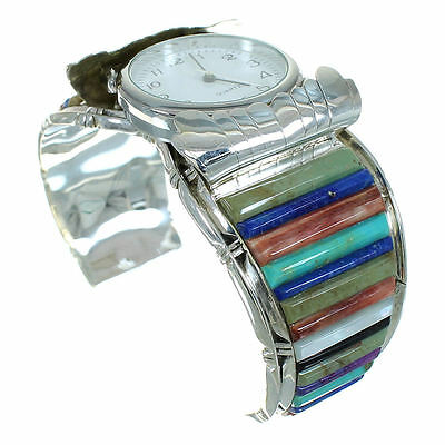 Authentic Sterling Silver Multicolor Inlay Cuff Watch RX65858