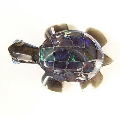 Fire Opal Inlaid Carved Obsidian Turtle From Mexico #17073