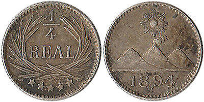 1894 (H) Guatemala 1/4 Real Silver Coin KM#162 Mintage 800K