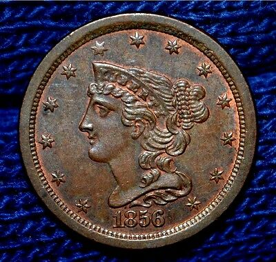 1856 HALF CENT**UNC / MS RB**Must See**some Mint Luster !!