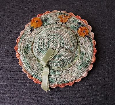 Vintage  Ribbonwork Flowers Crocheted Hat Shaped Holder & Pin Cushion