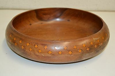 Vintage Custom Hand Carved Wooden Slim Bowl w/ Orange Inlays Dated 1981 Rare 10""