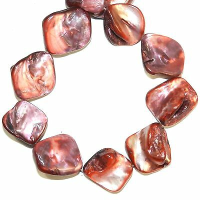 MP2659L Burgundy Red 16-20mm Diamond Nugget Mother of Pearl Gemstone Shell Beads