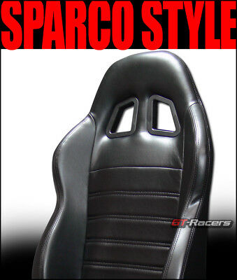 2X Universal Sp Blk Stitch Pvc Leather Reclinable Racing Bucket Seats+Slider G12
