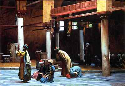 """Oil Painting repro Jean-Leon Gerome Prayer in the Mosque 24""""x36"""""""