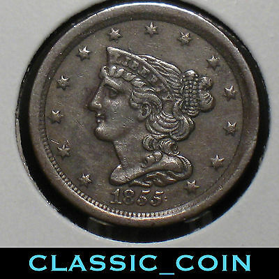 1855 Braided Hair Half Cent 162 Years Old Scarce Date Free Shipping